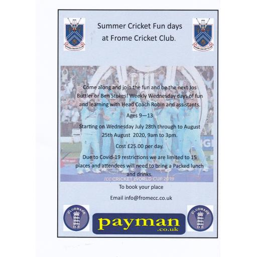 Summer Cricket fun days at Frome Cricket Club